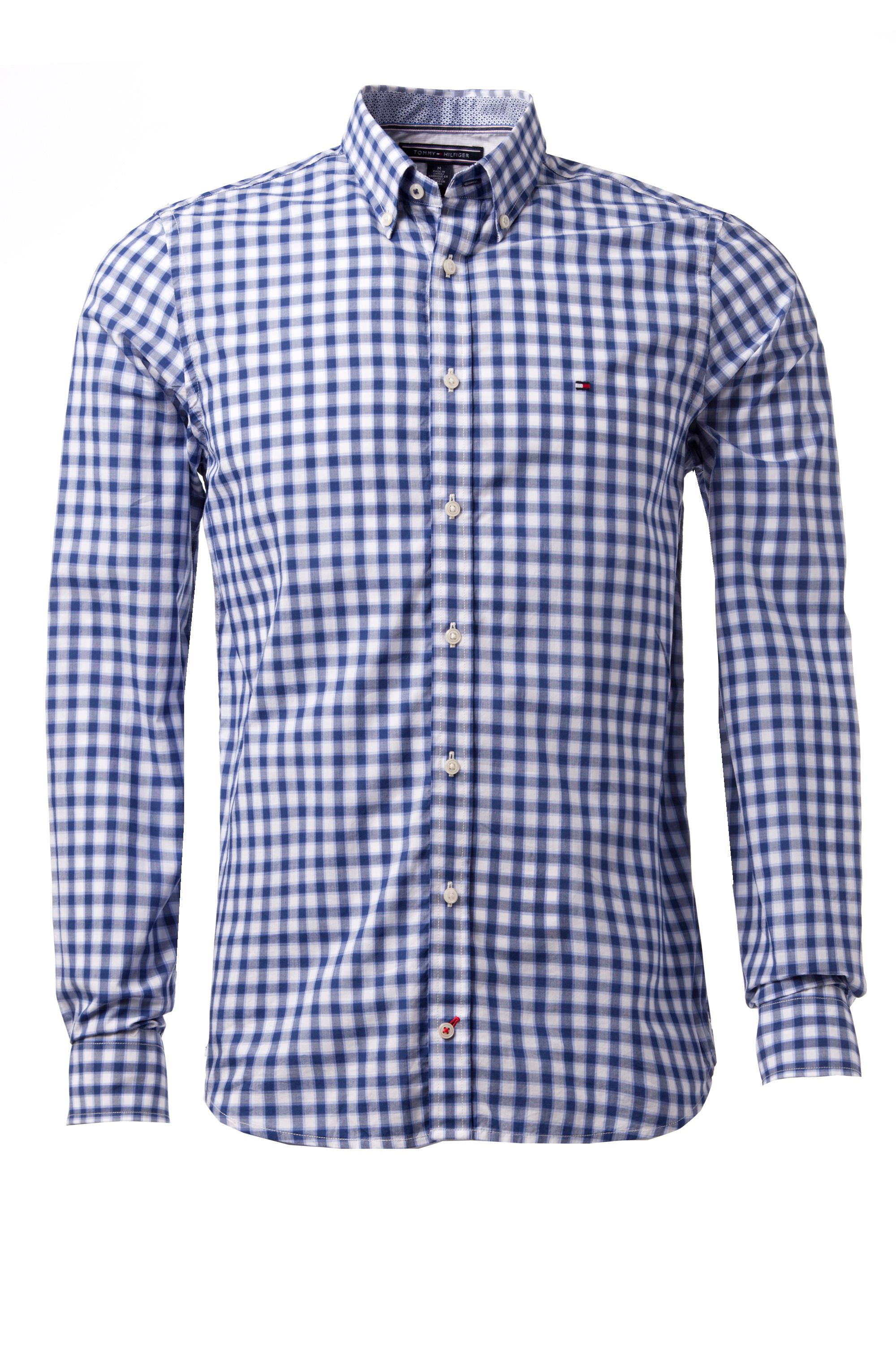 Lyst tommy hilfiger varick gingham long sleeve shirt in for Blue and white long sleeve shirt