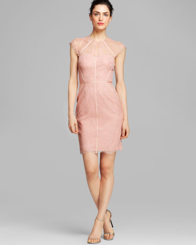 c024a03cbd5 ML Monique Lhuillier Dress Cap Sleeve Illusion Metallic Lace Sheath ...