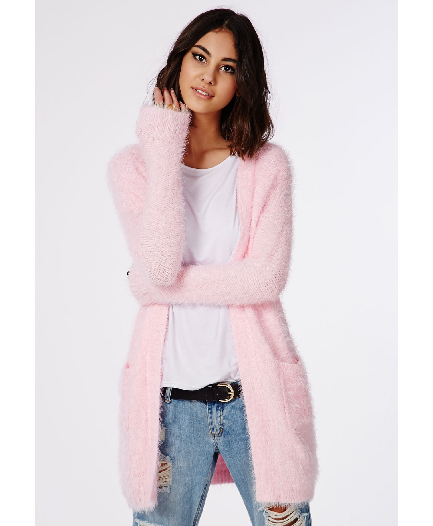 Missguided Ceris Knitted Fluffy Cardigan Baby Pink in Pink | Lyst