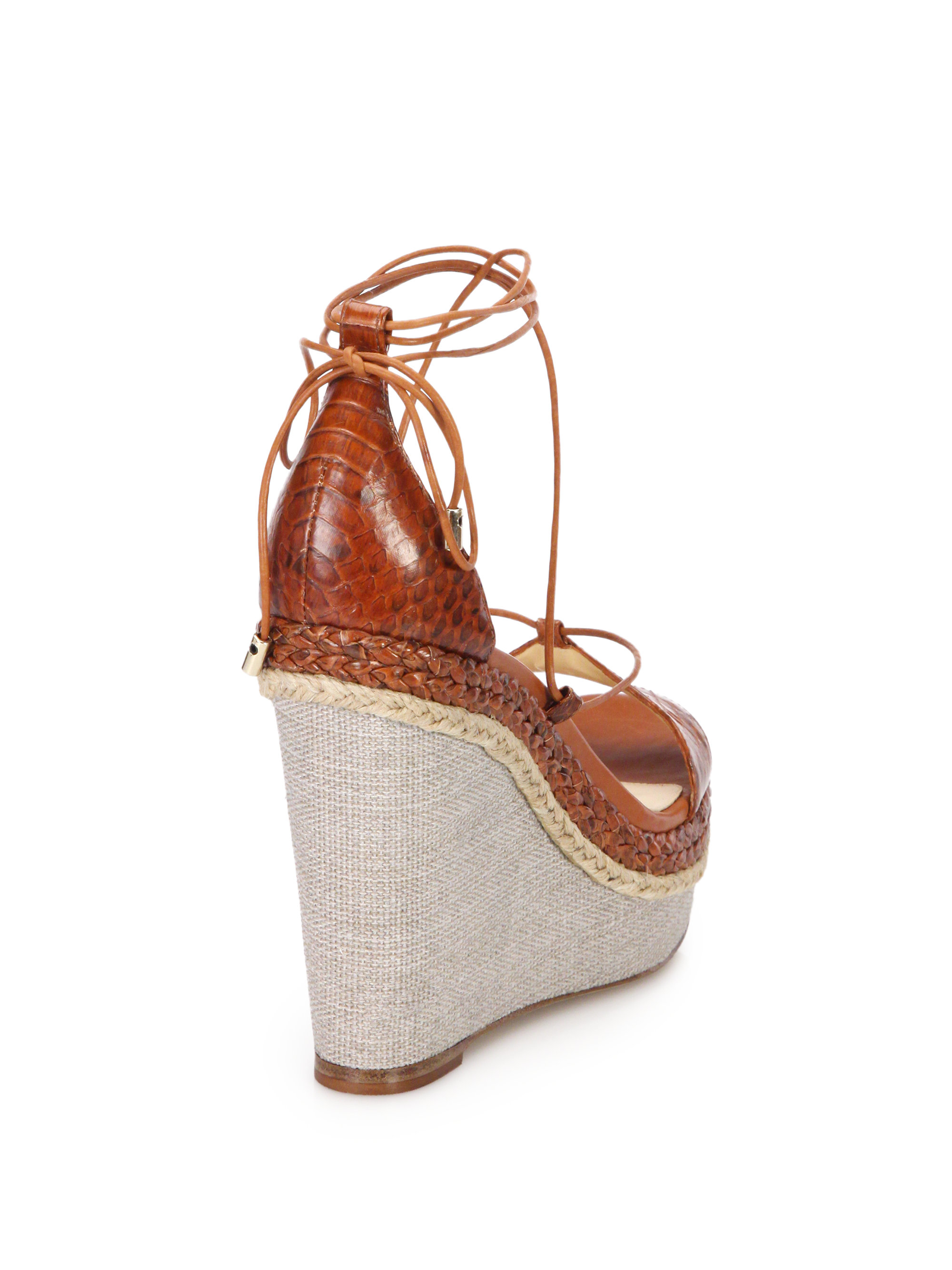 af001325e7e Lyst - Alexandre Birman Braided Python Wedge Sandals in Brown