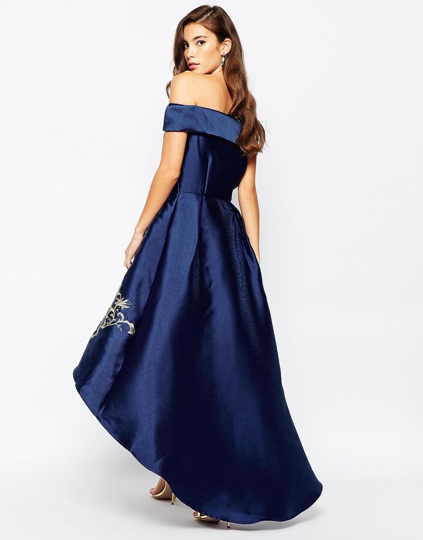 Formal semi high Blue dresses low