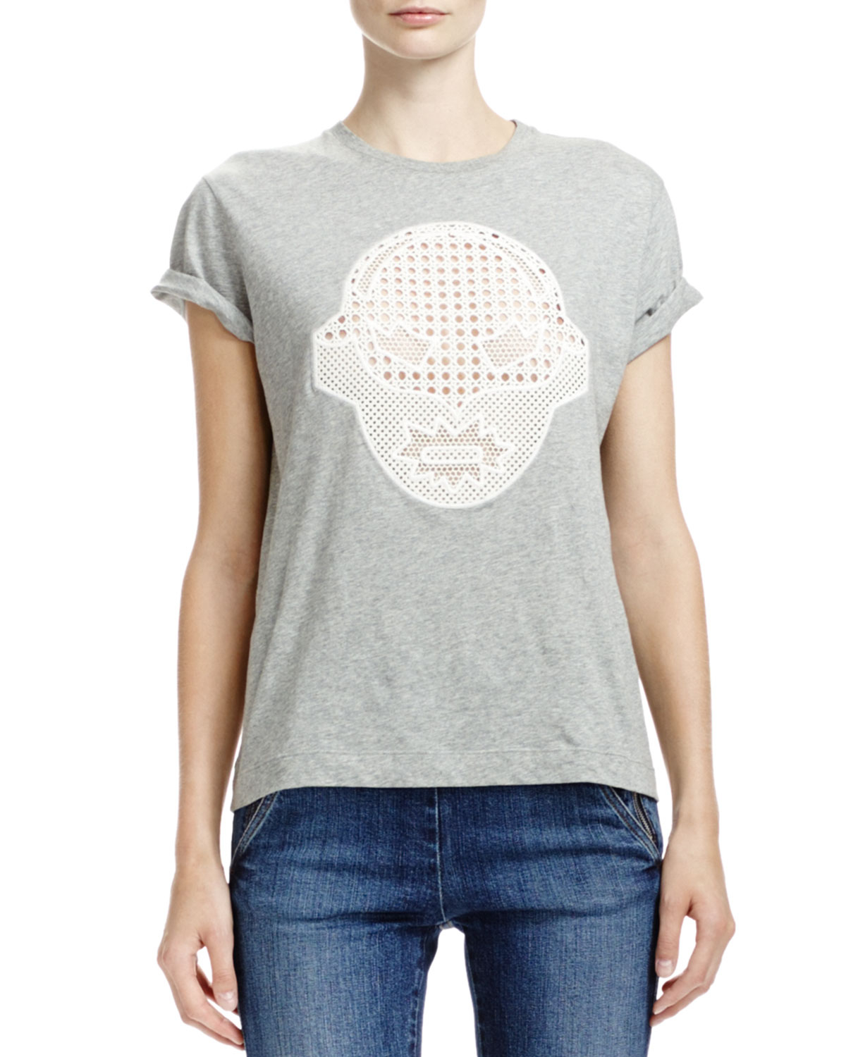 Stella Mccartney T Shirt With Superhero Lace Appliqu In