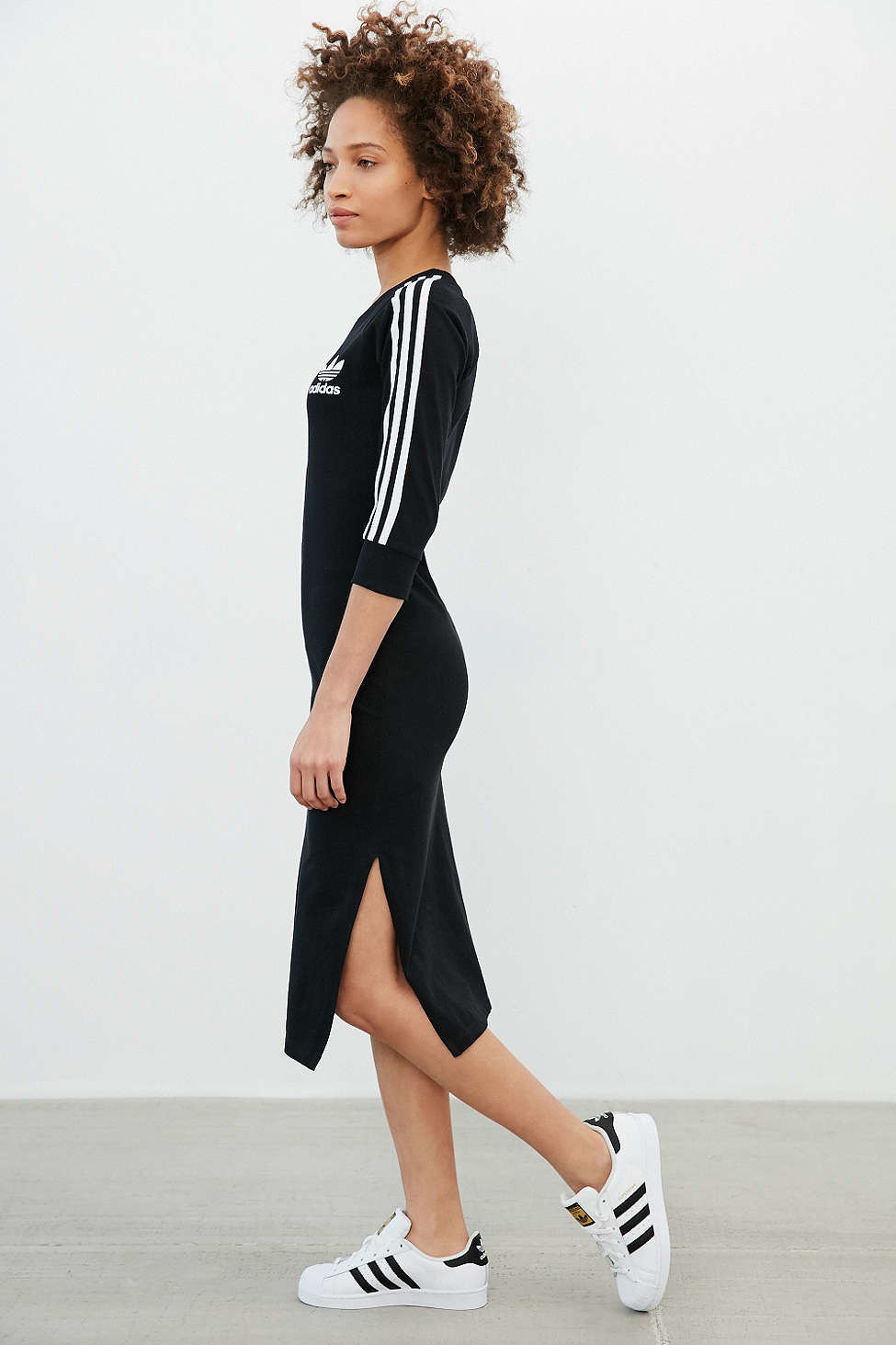 Adidas Originals Midi Dress in Black | Lyst