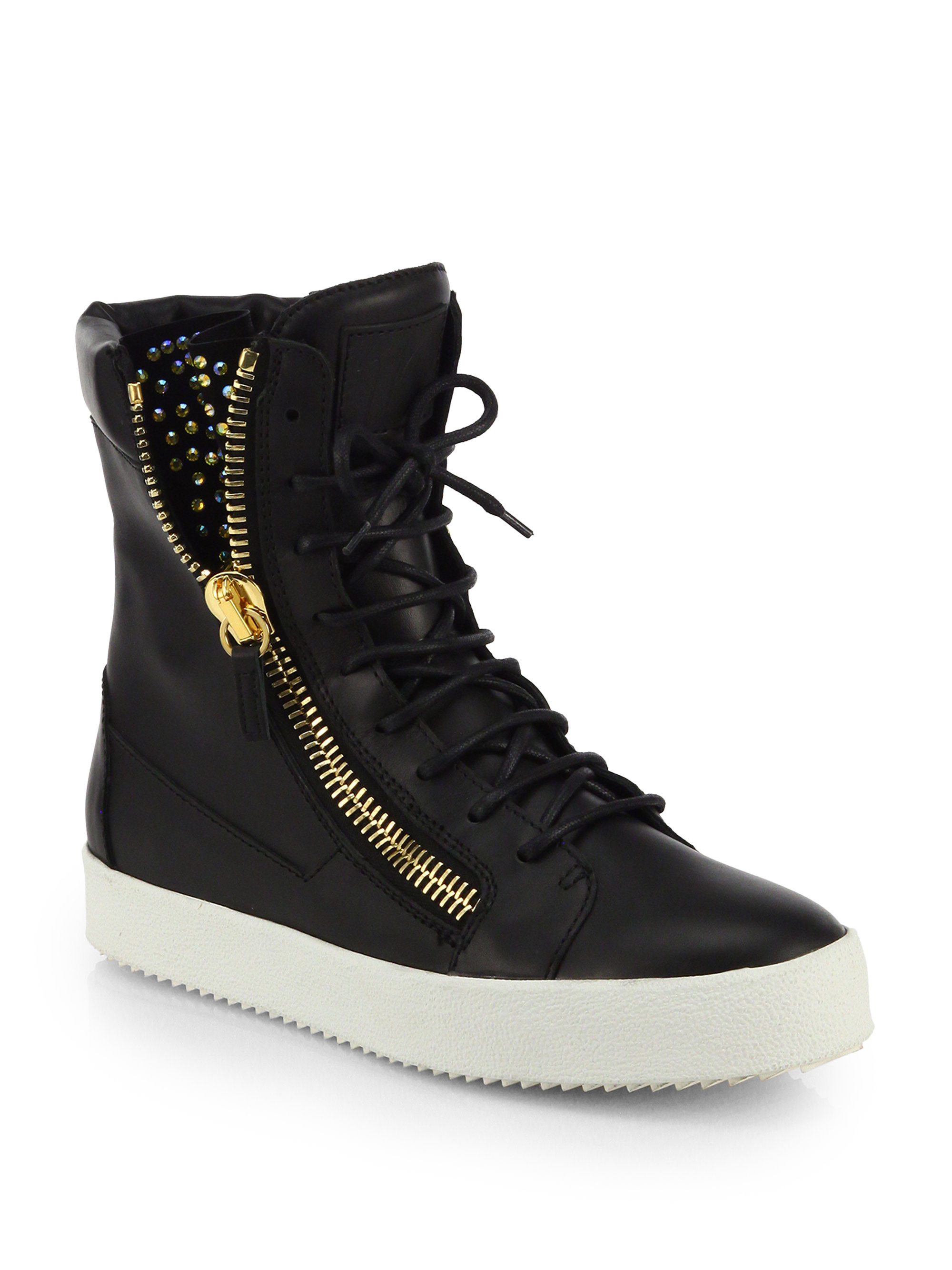 giuseppe zanotti studded leather high top sneakers in
