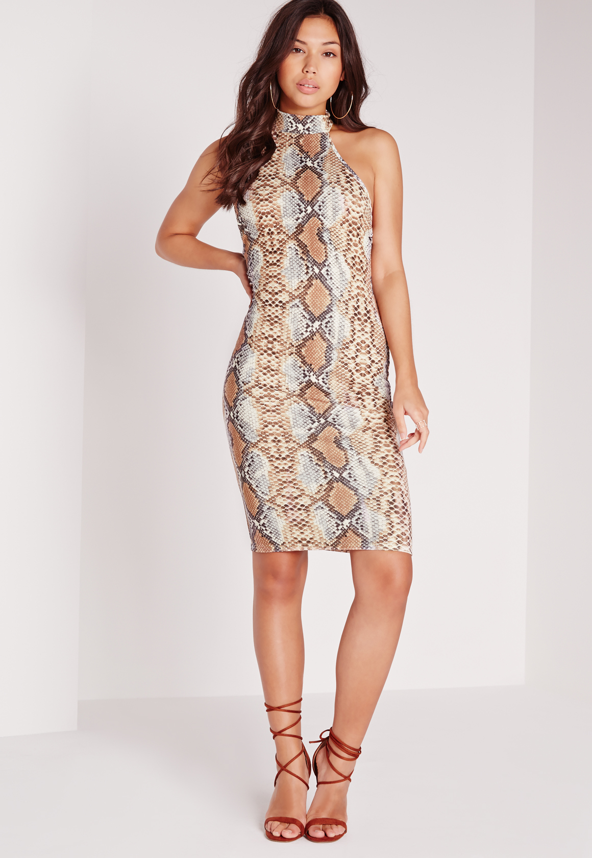 Missguided Halterneck Snake Print Bodycon Midi Dress Brown