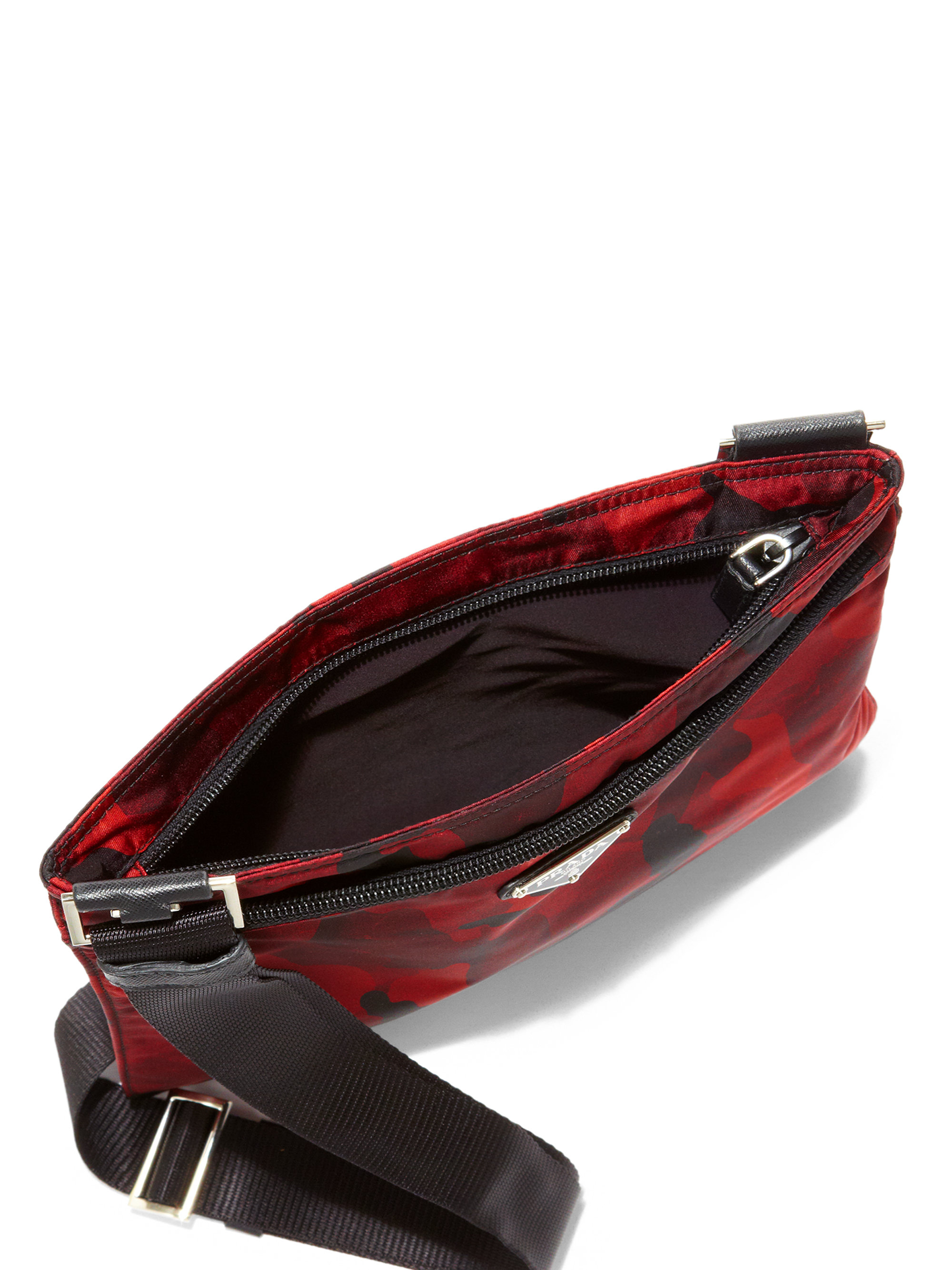 Prada Tessuto Camouflage Small Crossbody Bag in Red (BORDEAUX) | Lyst