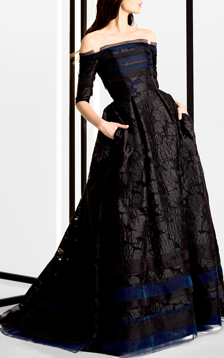 Lyst Carolina Herrera Off The Shoulder Ball Gown In Black