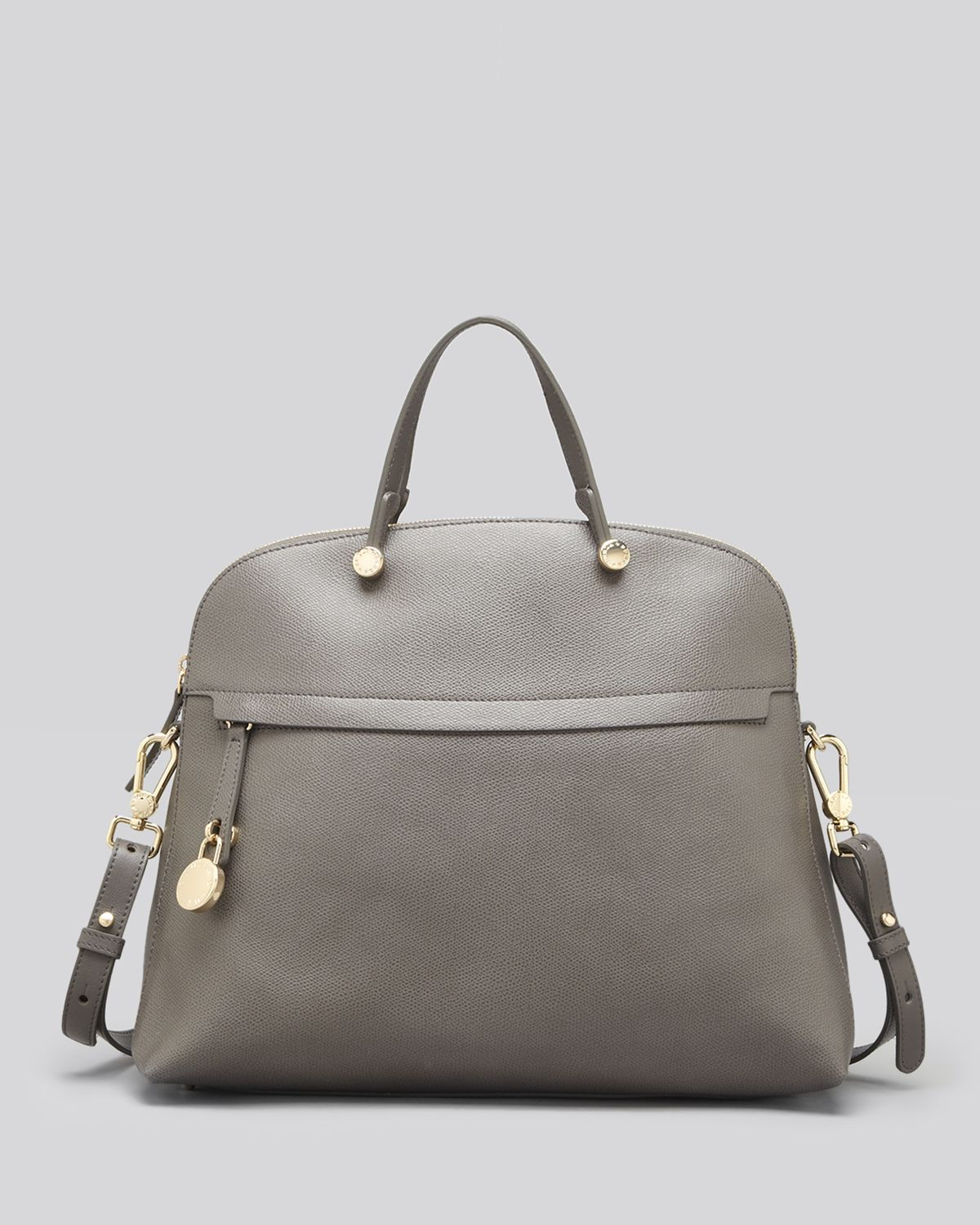 48e6b88dd7f3f Lyst - Furla Satchel - Piper Ares Leather Large Dome in Gray