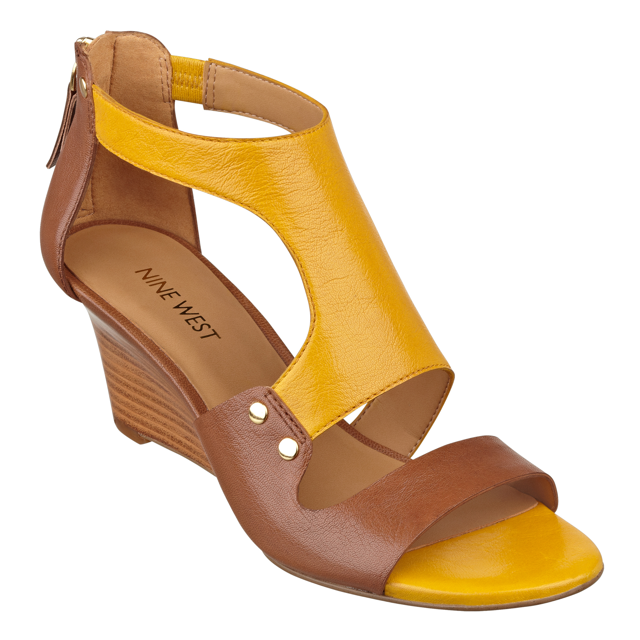 4fe4a51abd38 Lyst - Nine West Rooster Wedge Sandals in Yellow