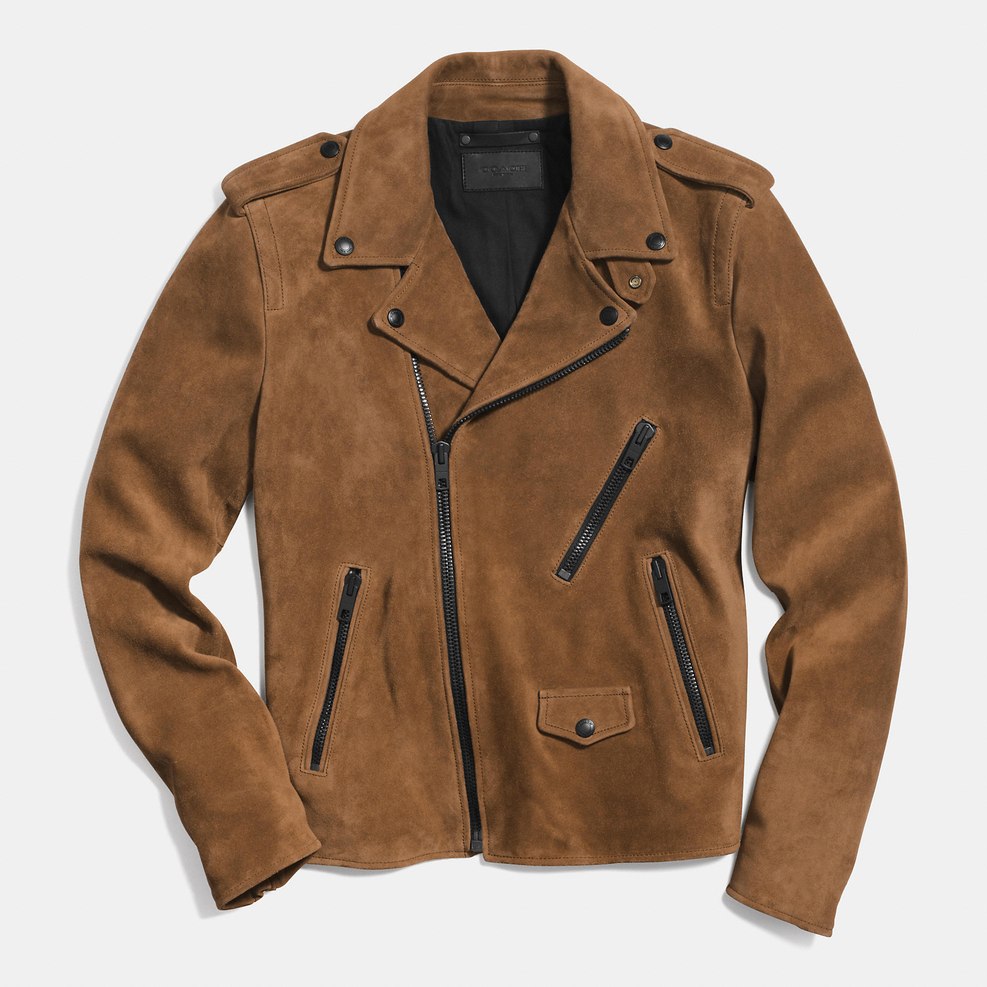 68394863d2c Lyst - COACH Suede Motorcycle Jacket in Brown for Men
