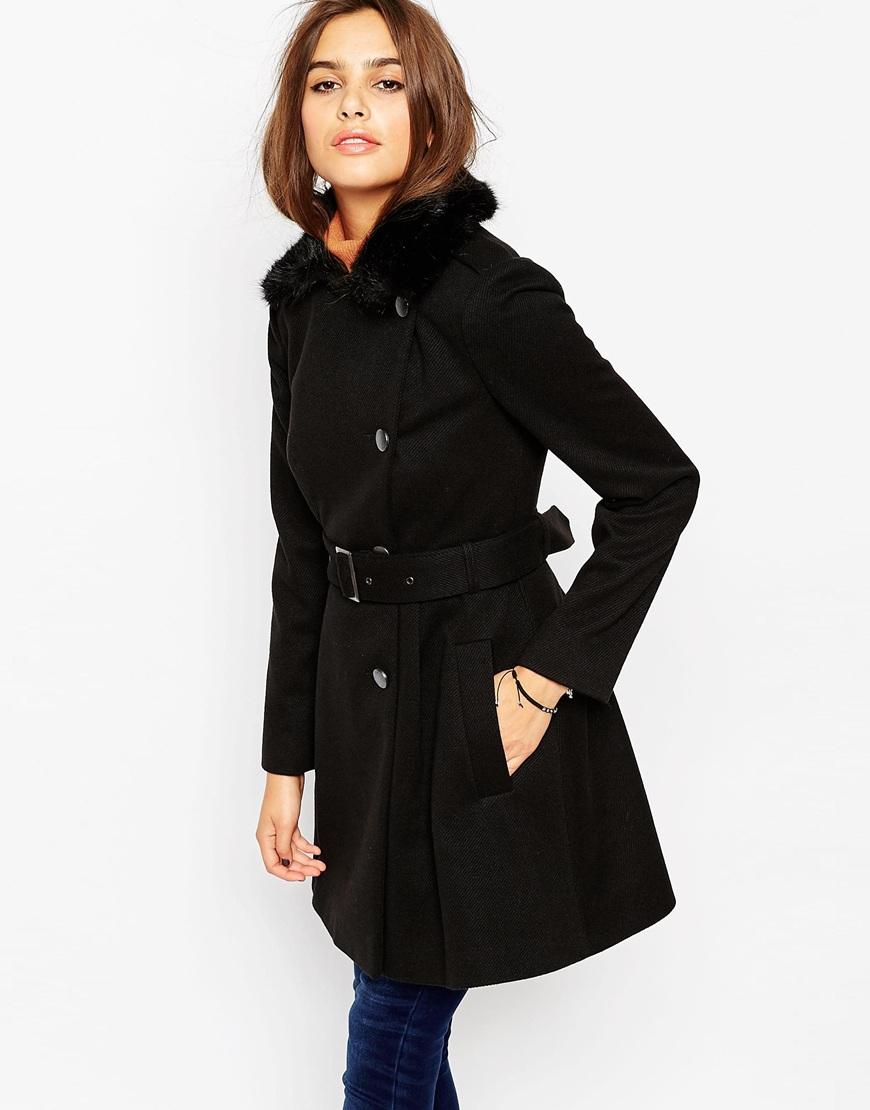 Asos Skater Coat With Faux Fur Collar in Black | Lyst