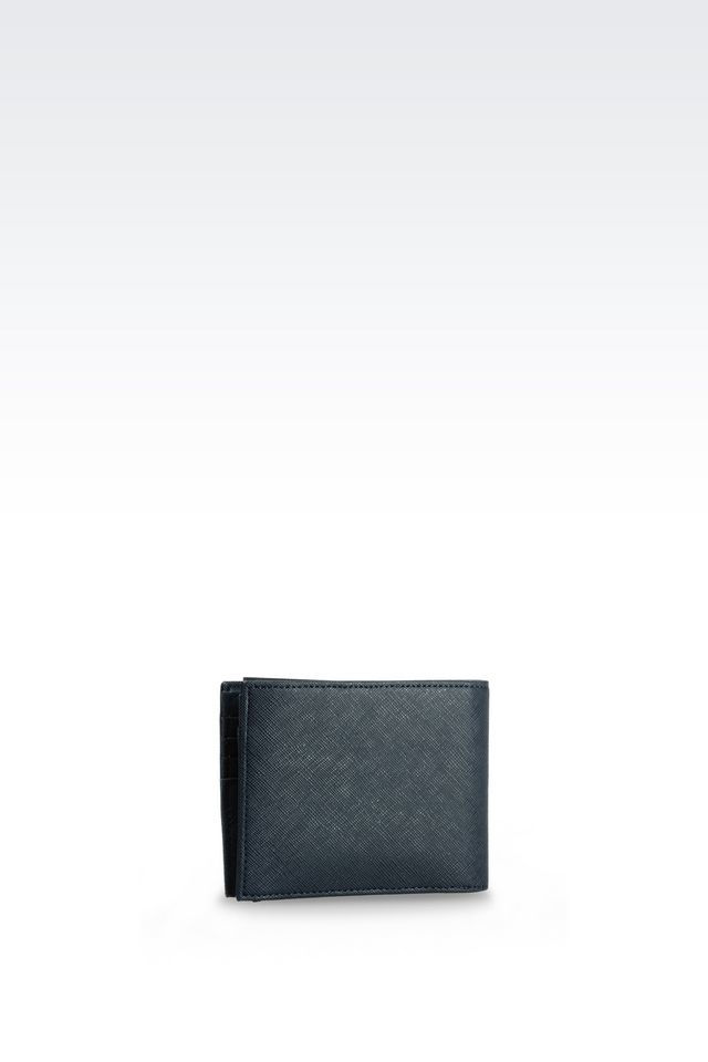 Armani jeans bi fold wallet in faux saffiano in blue for for Michaels craft store rancho san diego
