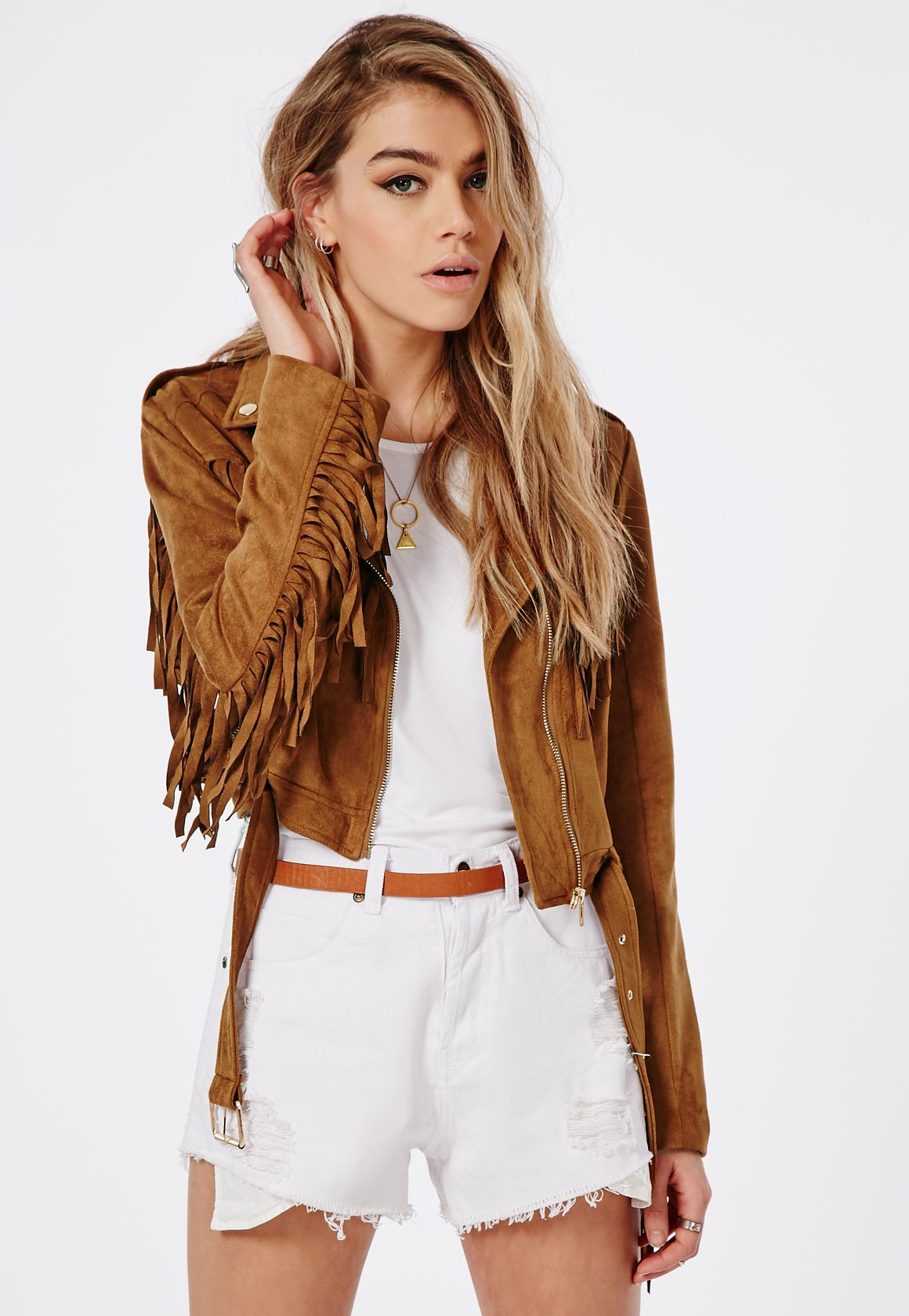 Lyst - Missguided Fringed Faux Suede Biker Jacket Tan in Brown