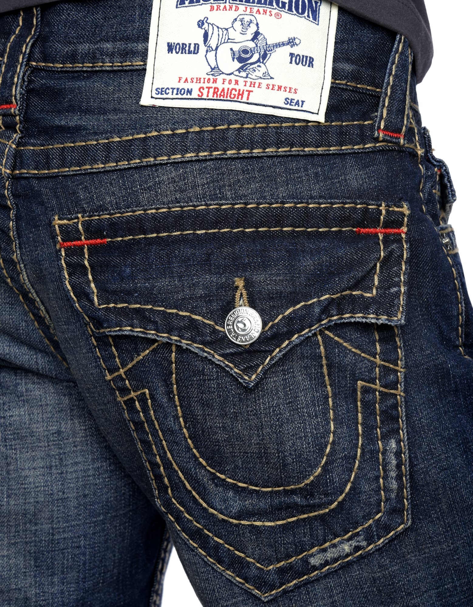 True religion Hand Picked Straight Back Flap Pocket Big T Mens Jean in Blue for Men | Lyst