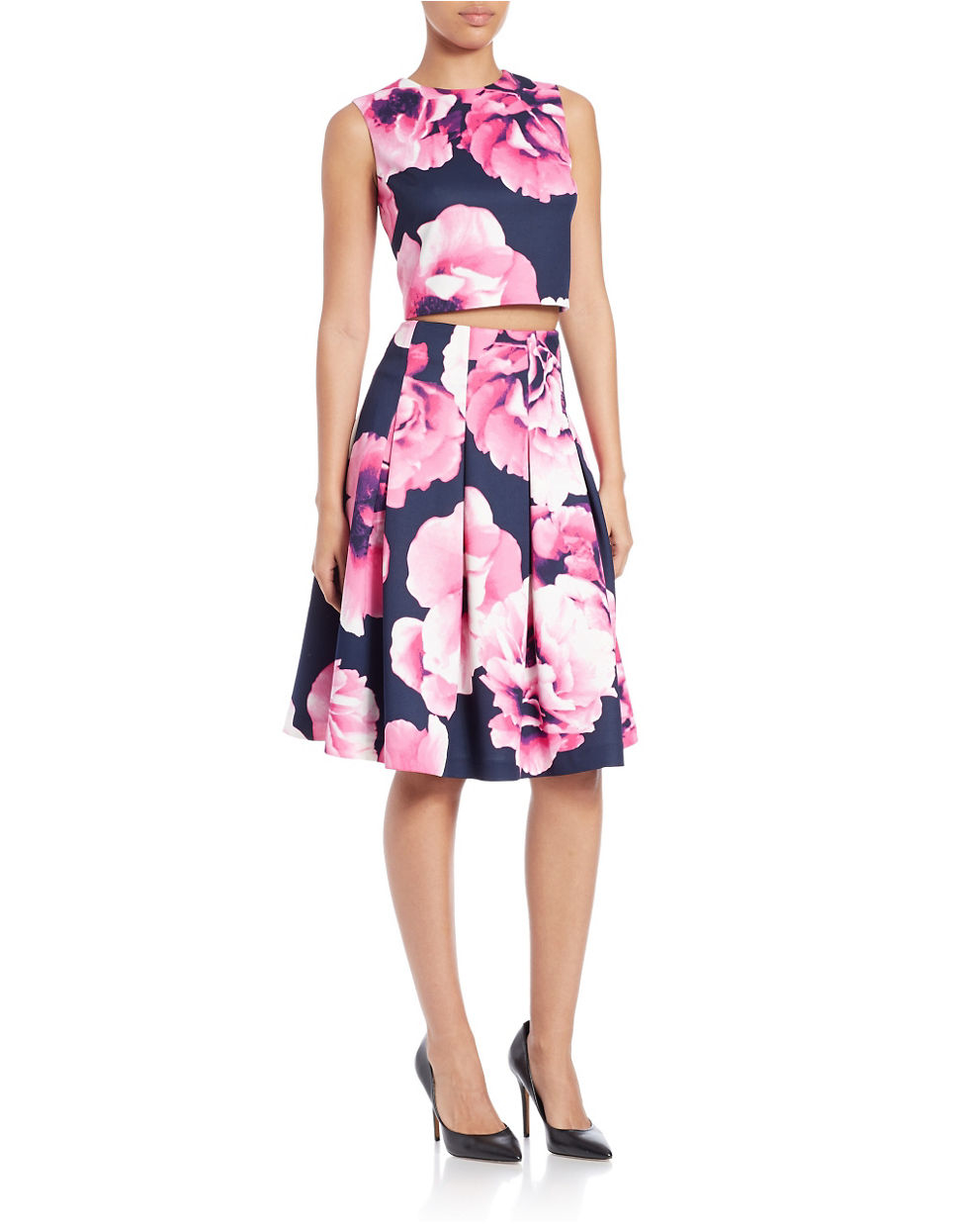 669e26d5284a Eliza J Petite Two-piece Floral Crop Top And Skirt Set in Blue - Lyst