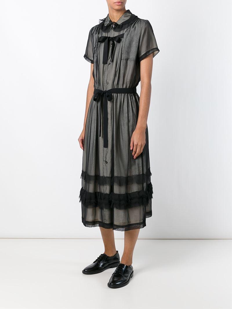 comme des gar ons sheer overlay shirt dress in black lyst. Black Bedroom Furniture Sets. Home Design Ideas