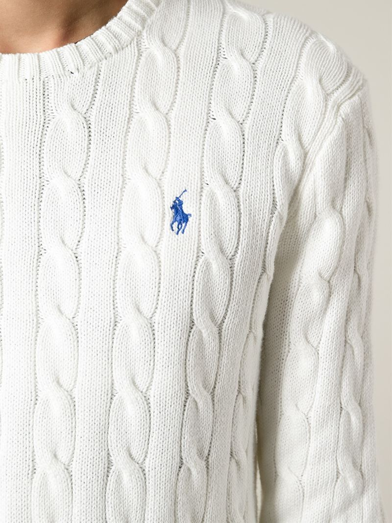 a6764ae4b43a21 Polo Ralph Lauren Cable Knit Sweater in White for Men - Lyst