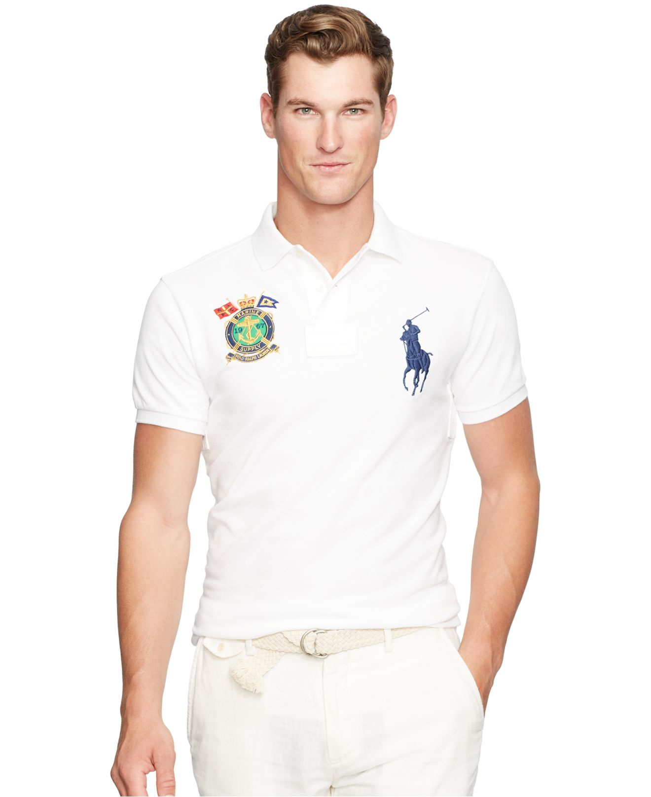 Polo ralph lauren custom fit nautical crest polo shirt in for White fitted polo shirts