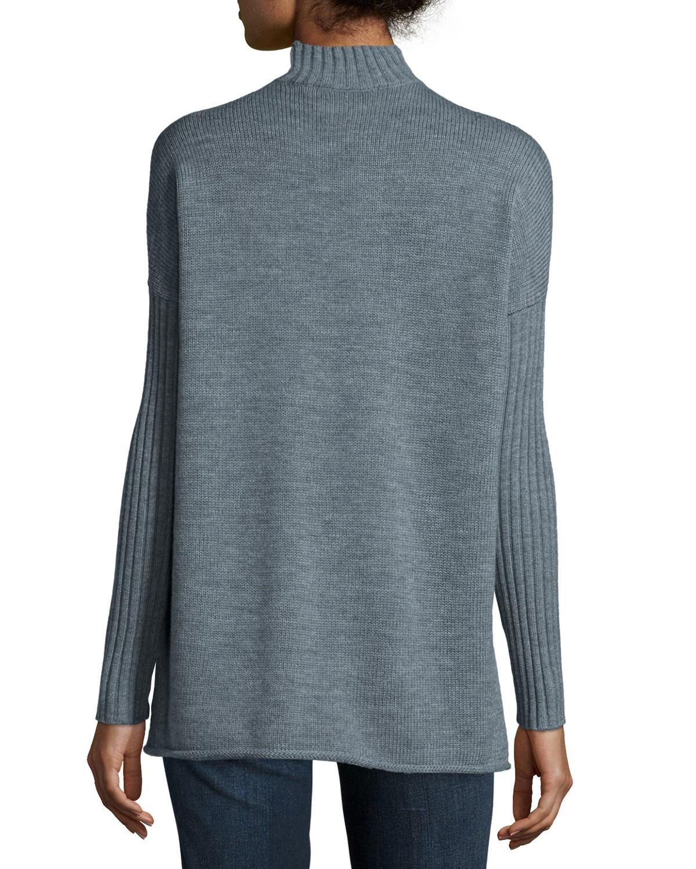 Tory burch Mock-neck Long-sleeve Oversize Sweater in Gray | Lyst