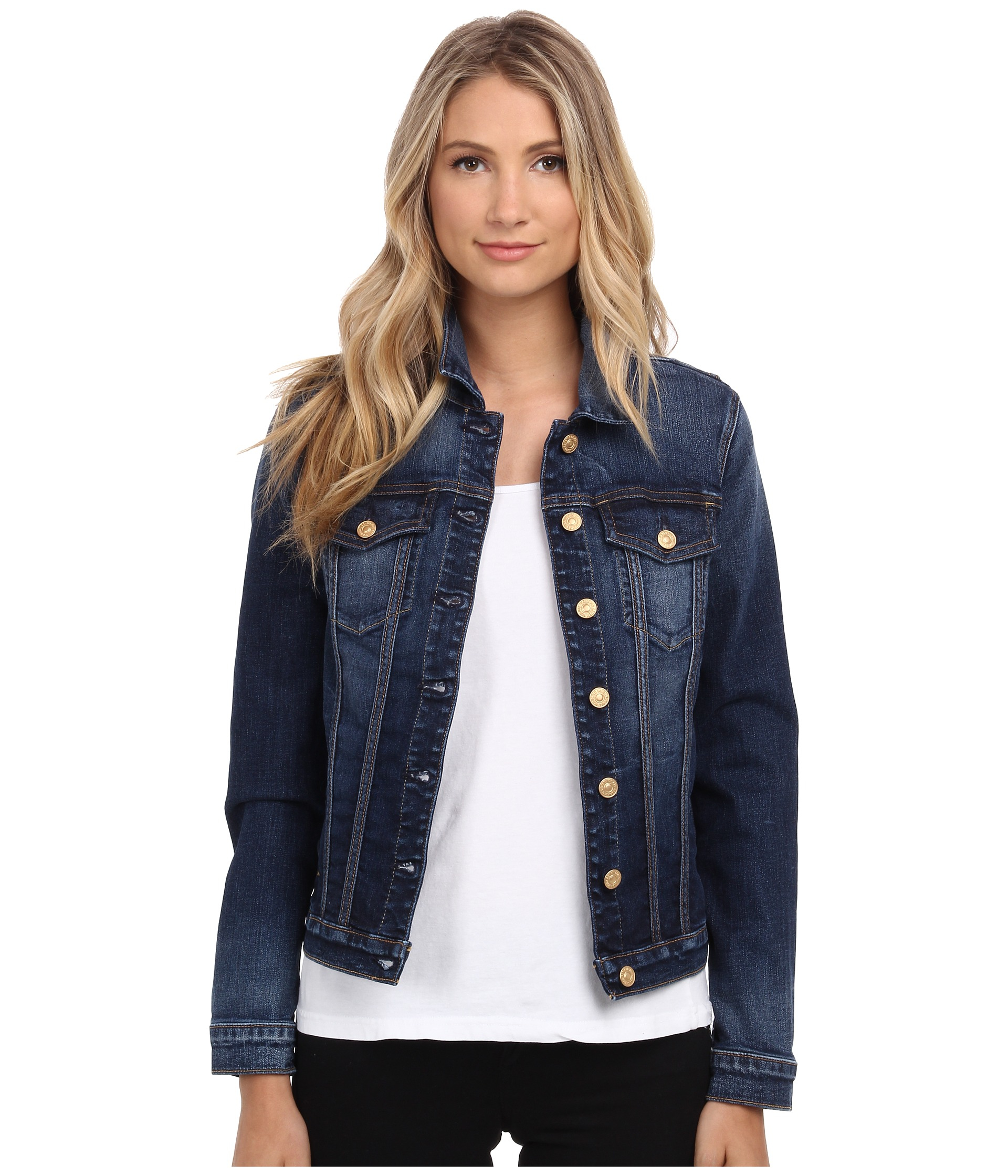 lyst 7 for all mankind classic denim jacket in blue
