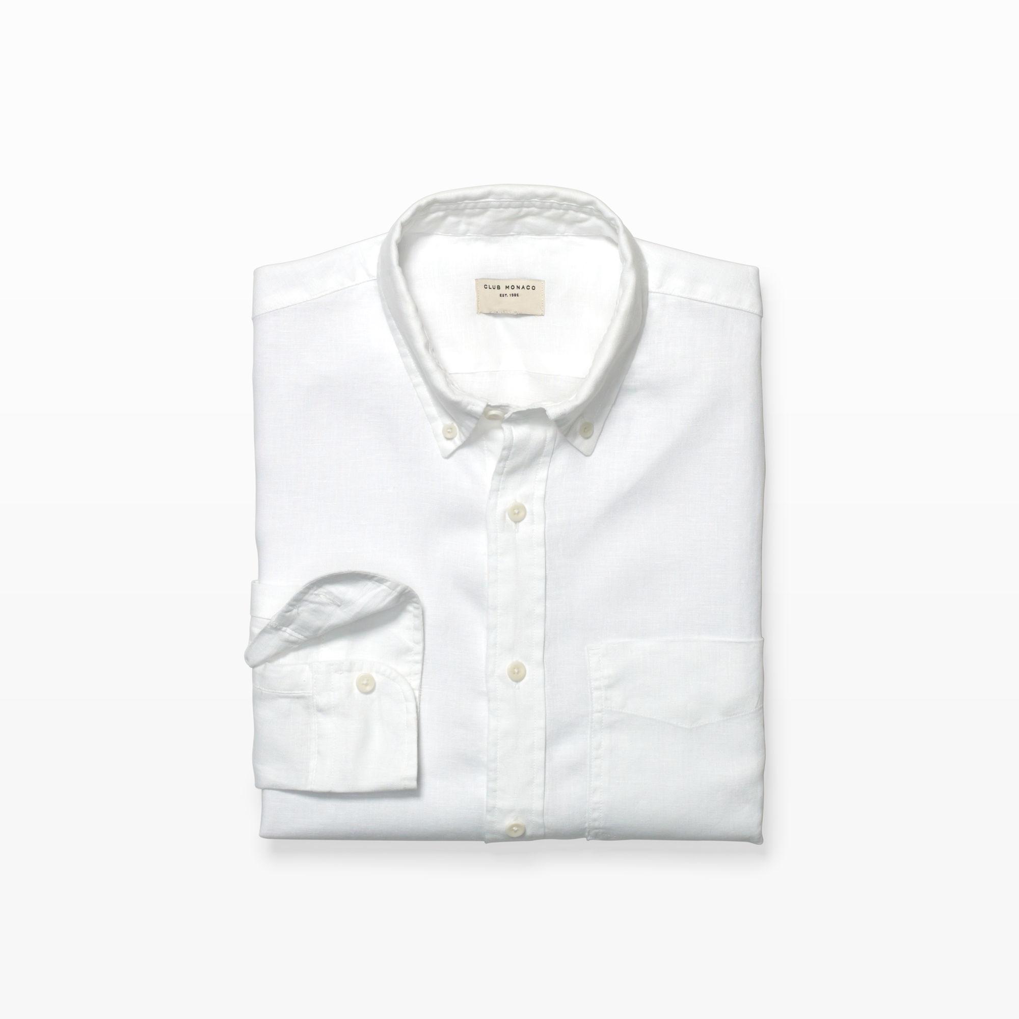 Club monaco slim fit bd solid linen shirt in white for men for Slim fit white linen shirt