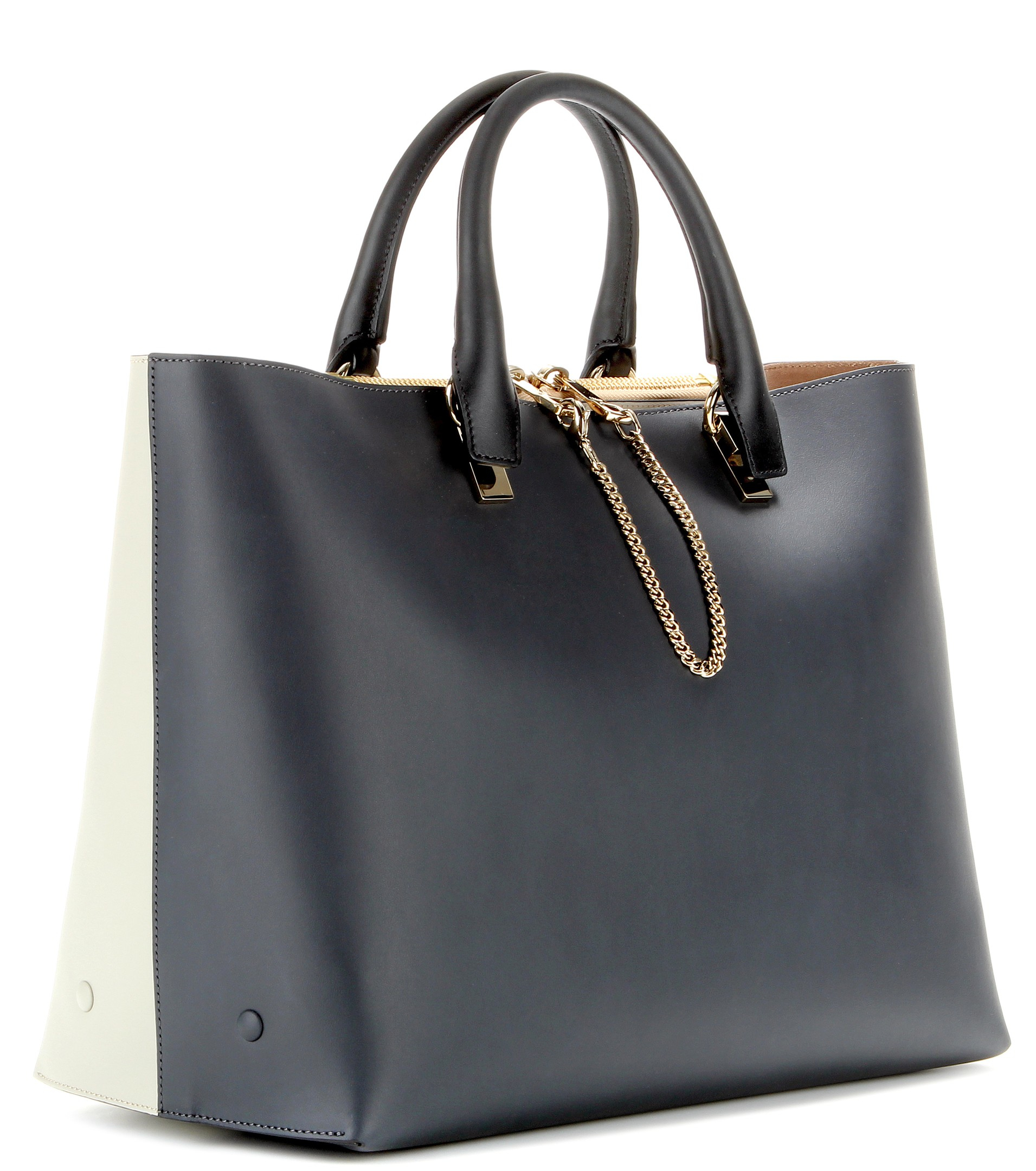 Chlo¨¦ Baylee Medium Two-tone Leather Tote in Black (Marshmallow ...