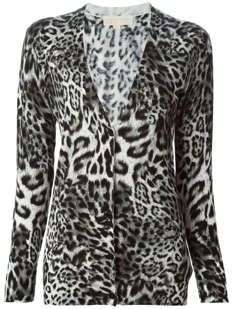 Michael michael kors Leopard Print Cardigan in Black | Lyst