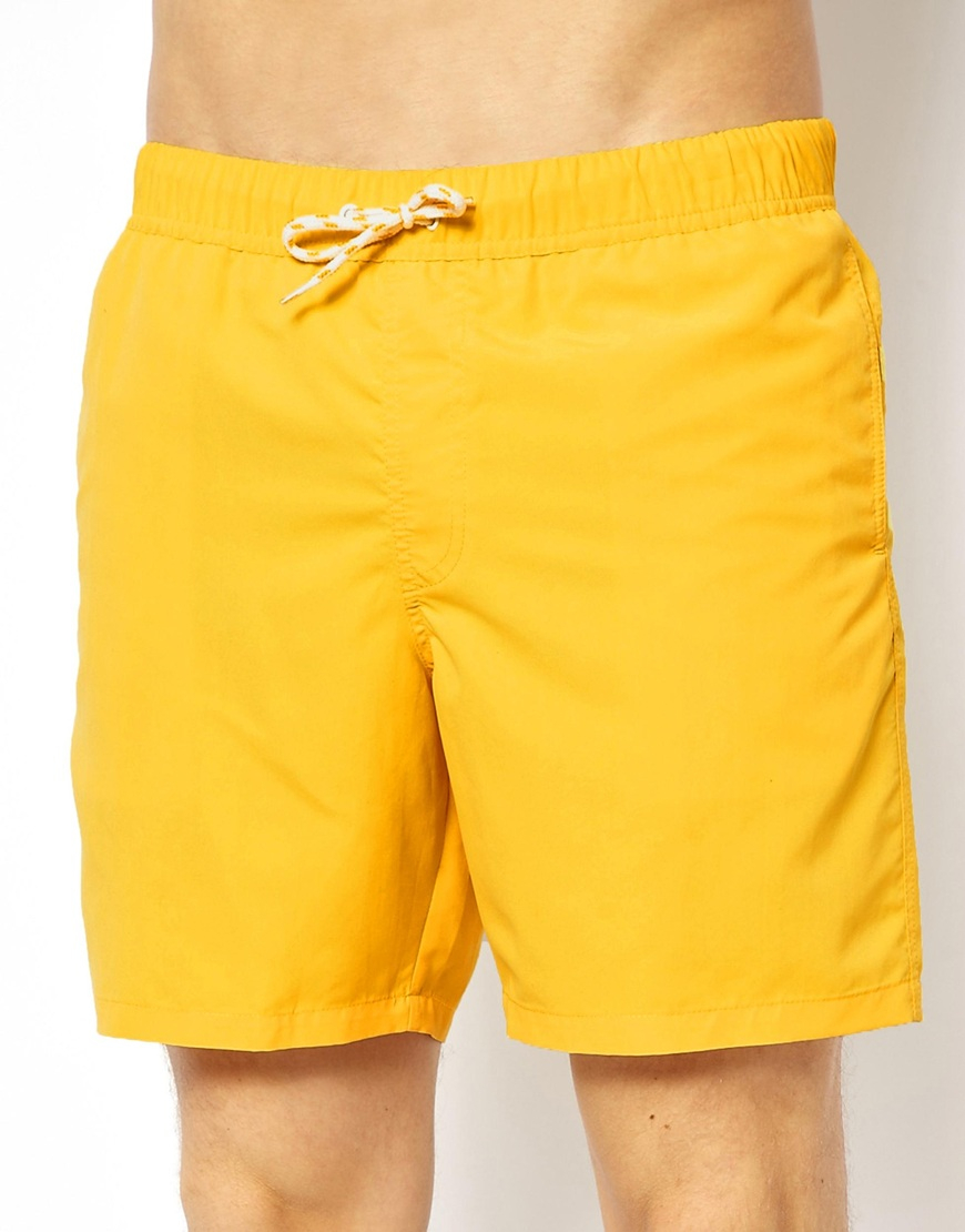 a568475334 ASOS Swim Shorts In Mid Length in Yellow for Men - Lyst