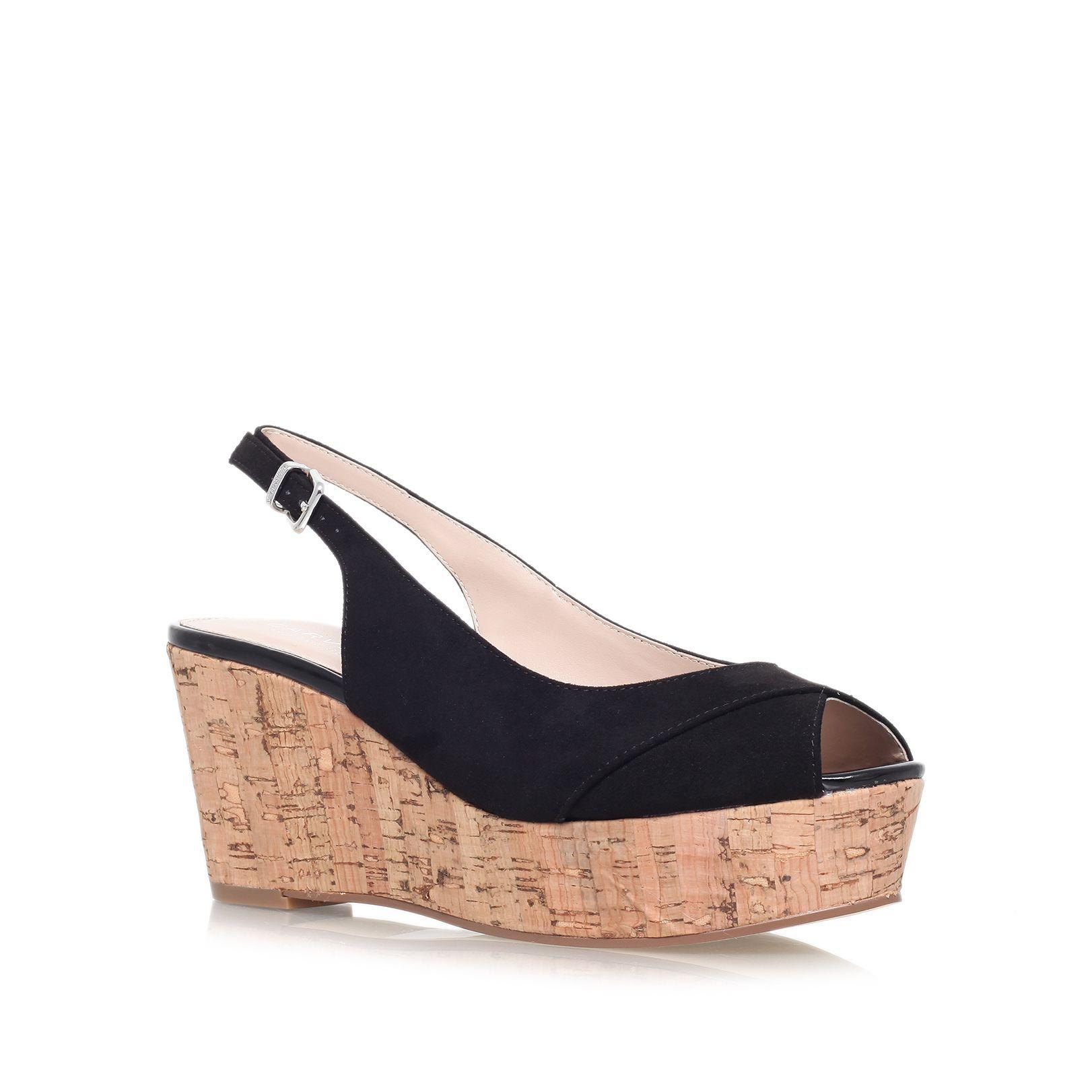carvela kurt geiger klixy mid wedge sandals in black lyst