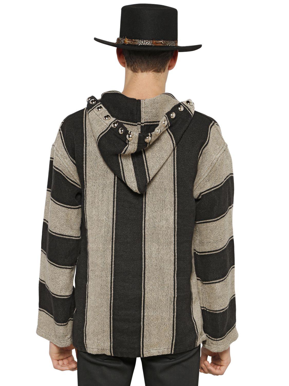 Saint Laurent Striped Linen Baja Hoodie In Gray For Men Lyst