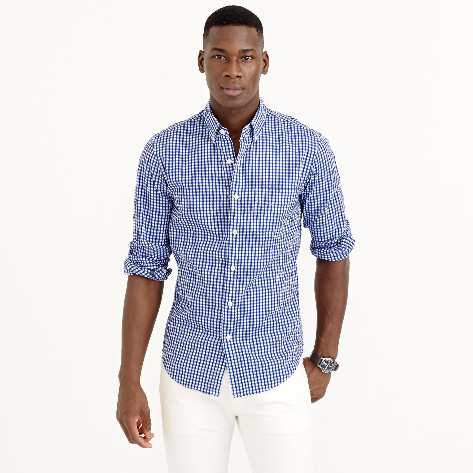 lyst j crew slim seersucker shirt in estate blue gingham in blue for men. Black Bedroom Furniture Sets. Home Design Ideas