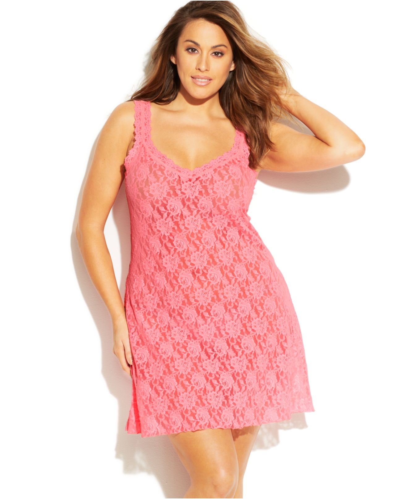 a571c675e Lyst - Hanky Panky Plus Size Signature Lace Chemise 485214x in Pink