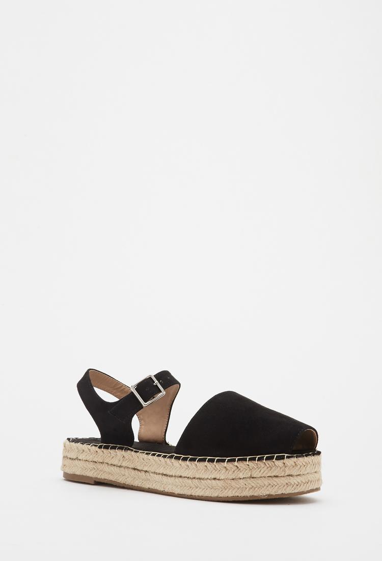 Lyst Forever 21 Espadrille Flatform Sandals In Black