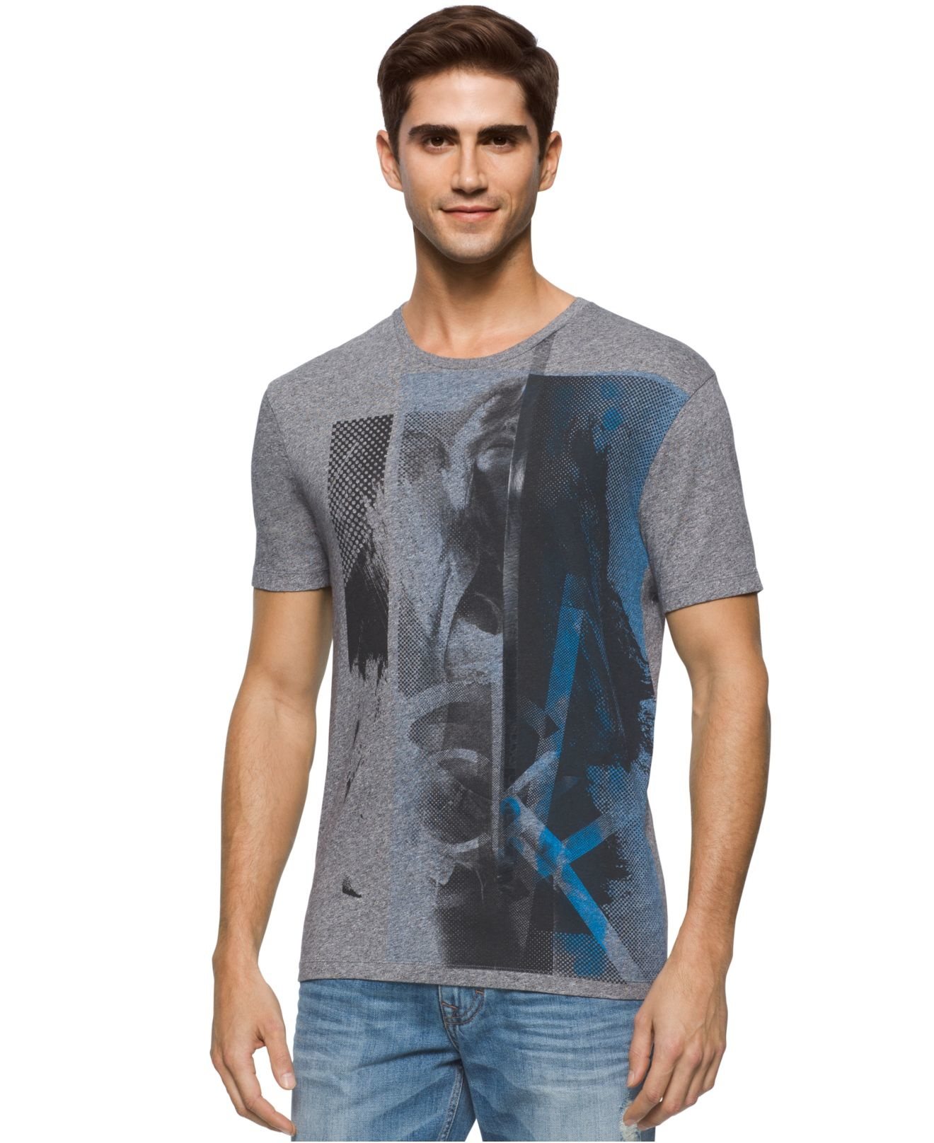7cb2c3be4d1bb Calvin Klein Men s Silhouette Graphic-print T-shirt in Green for Men ...