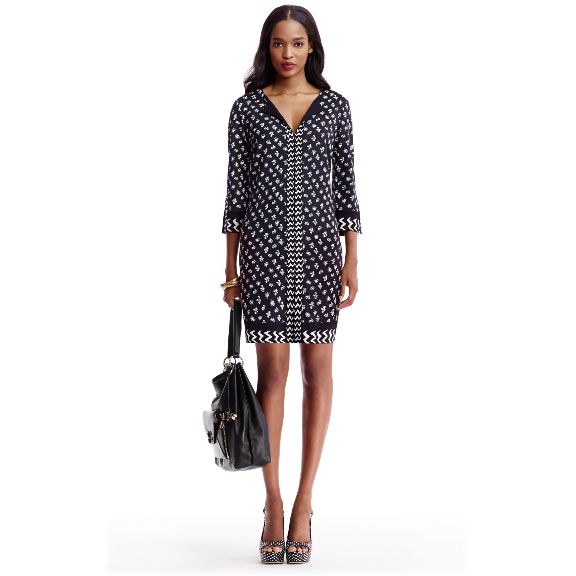 Diane von furstenberg Rose Long Silk Jersey Tunic Dress in Black ...