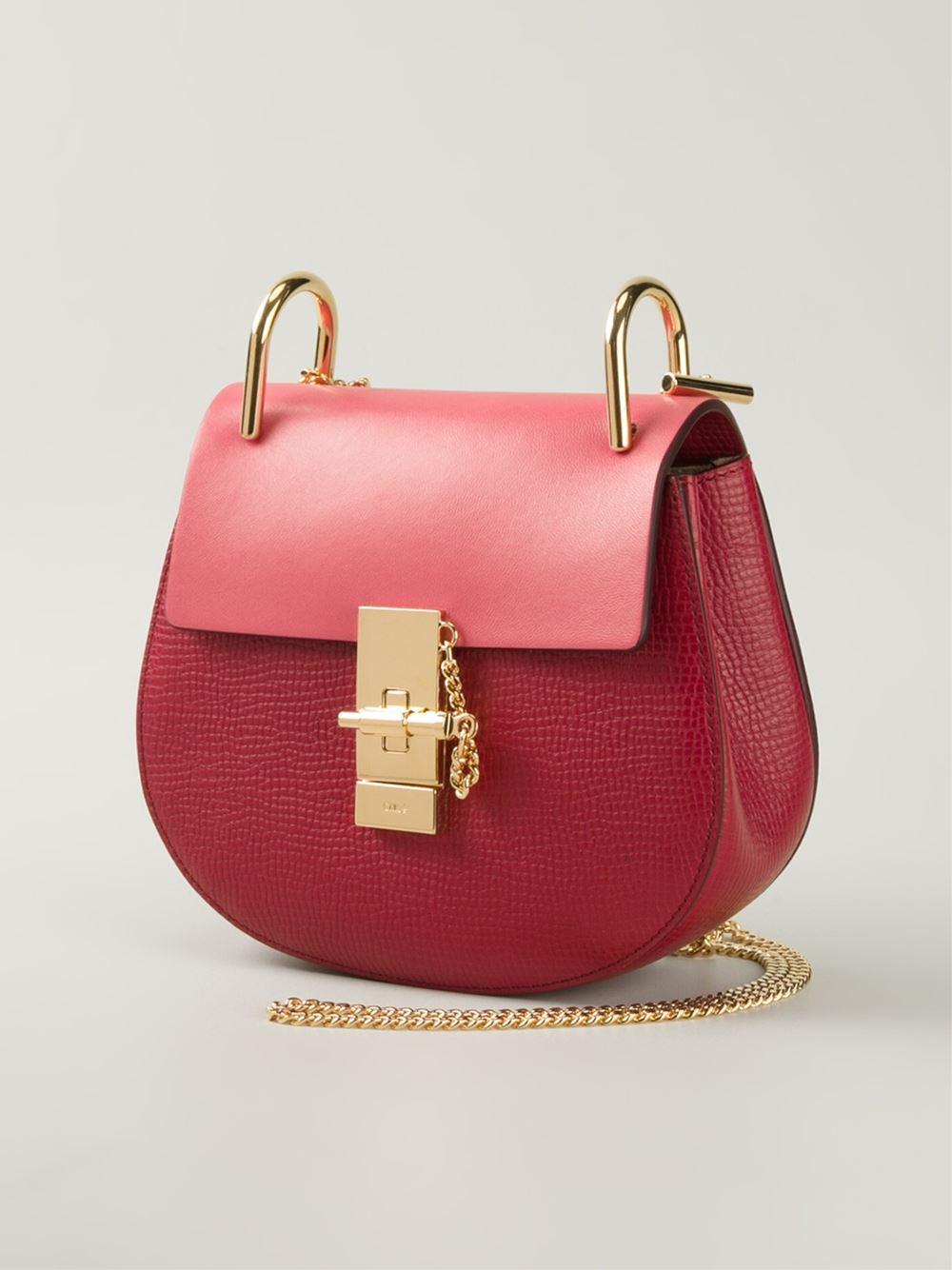 Chlo¨¦ Drew Calf-Leather Shoulder Bag in Red | Lyst