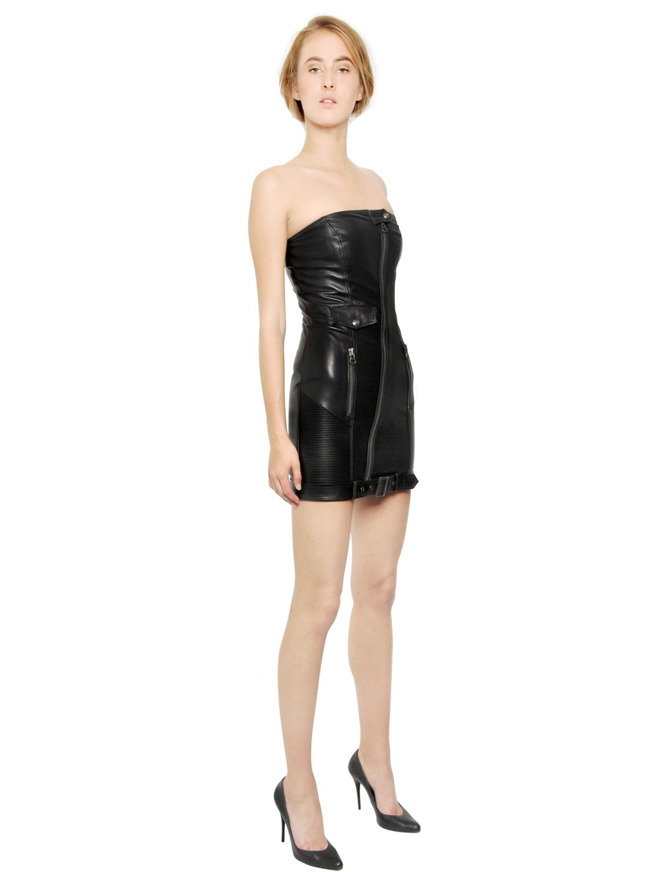 Lyst Balmain Strapless Nappa Leather Bustier Dress In Black