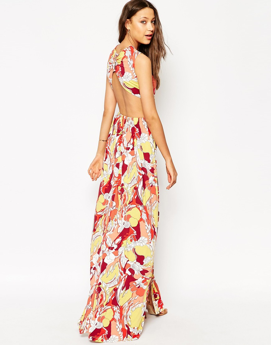 5126e3940bf ASOS Open Back Maxi Dress in Yellow - Lyst