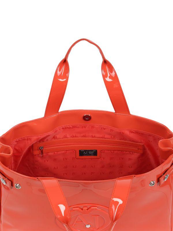 Armani Jeans Medium Embossed Logo Patent Vinyl Bag in Orange - Lyst f23e086967da9