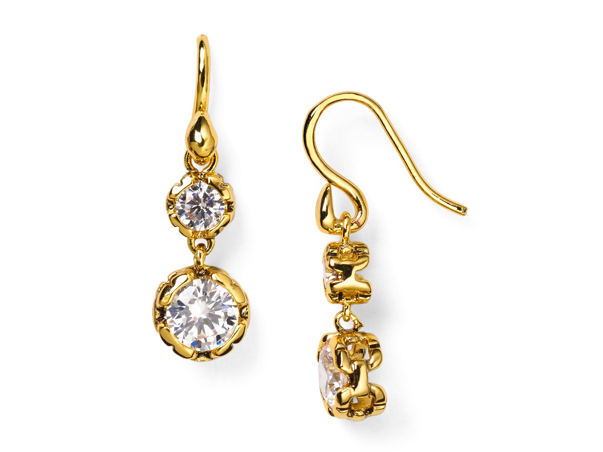 diane furstenberg cubic zirconia drop earrings in gold