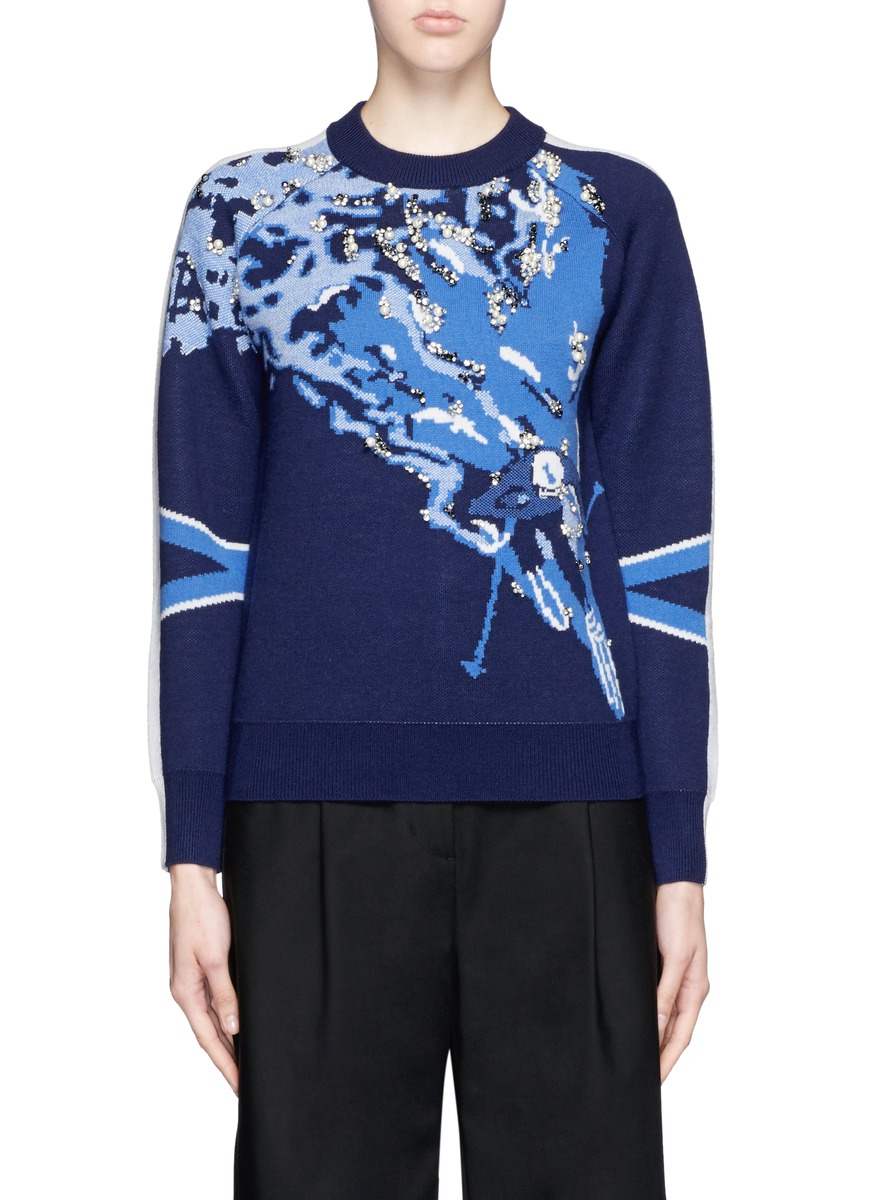 3.1 phillip lim Mountain Skier Intarsia Embellished Wool Sweater ...