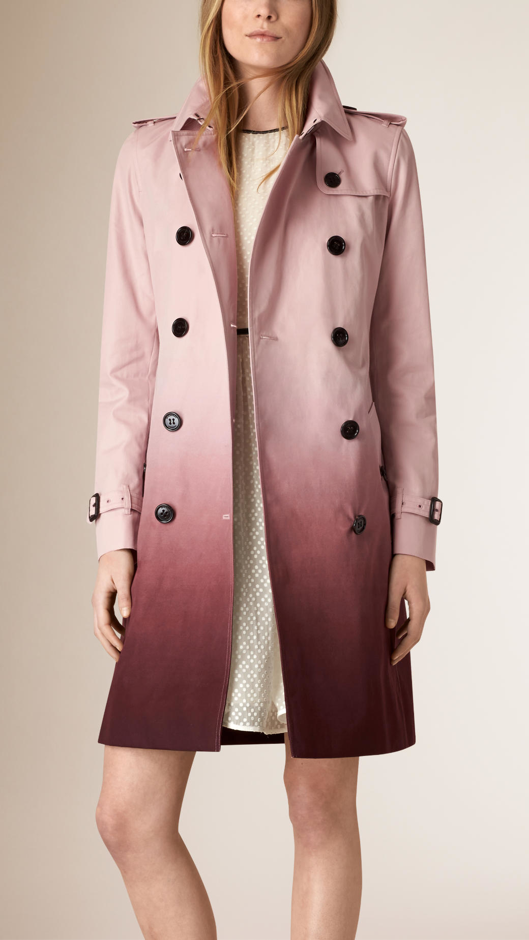 Burberry Degrad Cotton Trench Coat Ice Pink Deep Claret In Blue Lyst Clarette Wedges Coraline Black Gallery