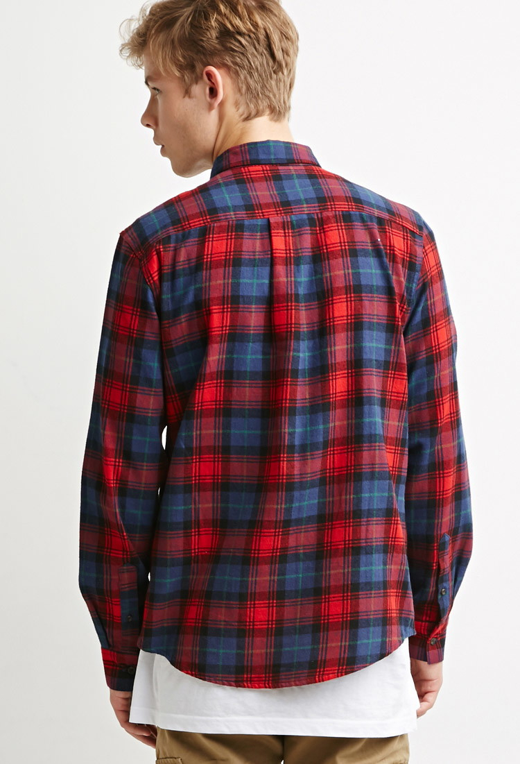 Lyst Forever 21 Plaid Flannel Shirt In Blue For Men