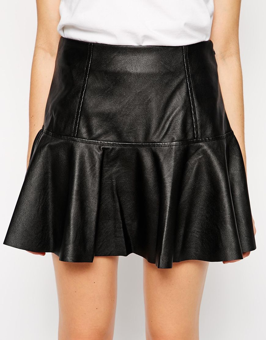 blank nyc faux leather mini skirt in blue blackedout lyst