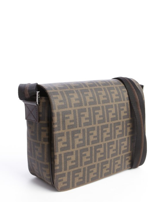eef2673eba ... where to buy lyst fendi tobacco and brown zucca spalmati small messenger  bag in 4fd0d 5d082