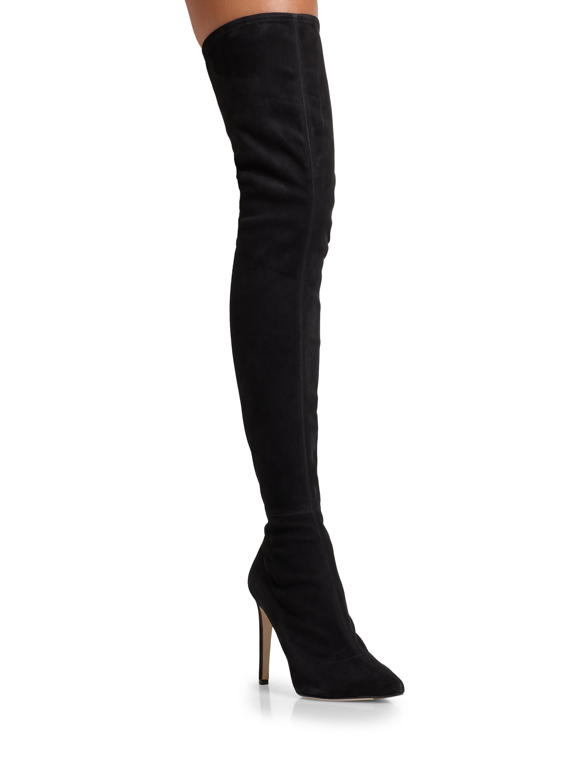 Sergio rossi Matrix Suede Over-The-Knee Boots in Black | Lyst