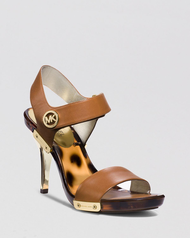 michael michael kors open toe platform sandals lani high heel in brown lyst. Black Bedroom Furniture Sets. Home Design Ideas