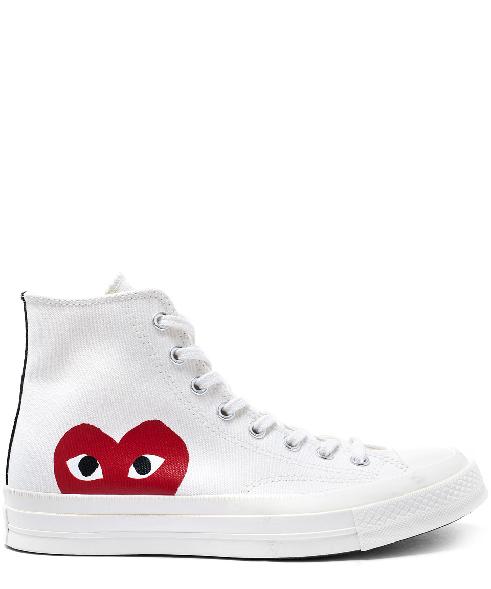 a97b19758280 Lyst - Play Comme des Garçons White Heart Print Hi-top Trainers in ...