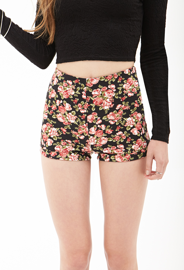 Forever 21 High-waist Floral Knit Shorts | Lyst