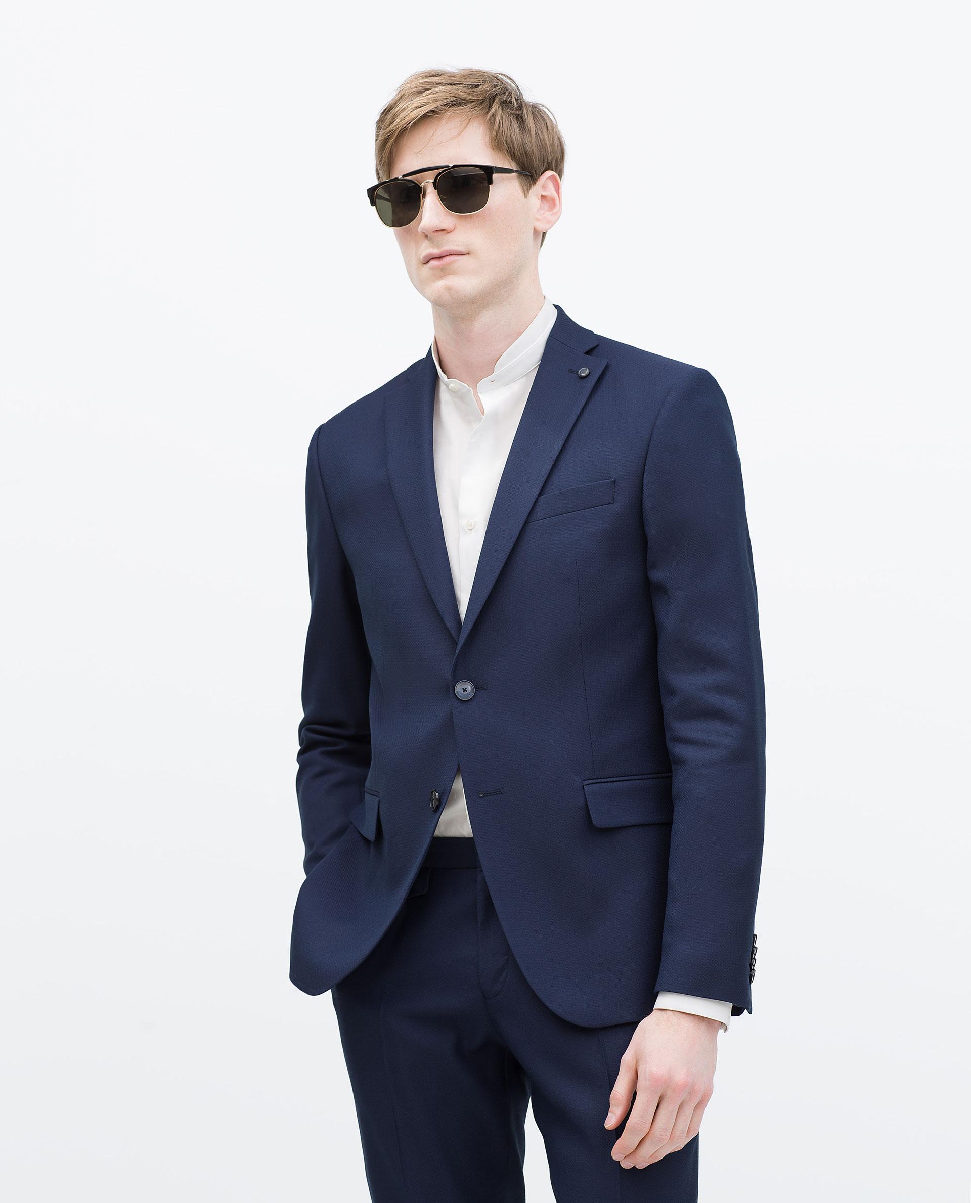 zara ink blue blazer in blue for men lyst. Black Bedroom Furniture Sets. Home Design Ideas